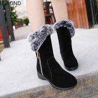 Botas Se Ifond 2021 inverno senhoras moda sapatos de neve quente pele de pelúcia