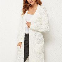 여성 겨울 우아한 따뜻한 긴 소매 니트 포켓 겉옷 스웨터 카디건