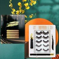 Makyaj Sökücü Kutuları ile Görünmez Mıknatıs Kirpik 5 Çift Manyetik Kirpik Eyeliner Hediye Kutusu Seti