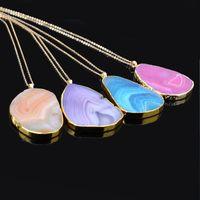 Nuove Druzy Guarigione collane linee di taglio geometriche linee di cristallo naturale pietre di quarzo pietre pendenti catene d'oro per le donne regalo di gioielli moda 291 G2