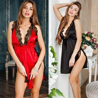 Lencería Sexy Mujeres Seda Robe Robe Robe BabyDoll Nightdress Campo de dormir Ropa de dormir
