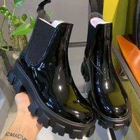 Новая Moonlight лакированной кожи Ботильоны для женщин поскользнуться на платформе Сапоги Женский черный Зимняя обувь Botas Largas Mujer