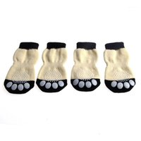 Novos 4 pcs Pet Dog Sneakers Shoelace Pattern Não-Slip meias Paws Cover Shoes S-XL M0XD1