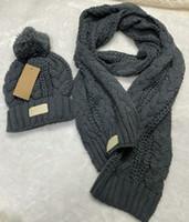 Adultos grosso inverno quente chapéu para mulheres macias estiramento cabo de malha gorros chapéus Um boné e lenço de duas peças