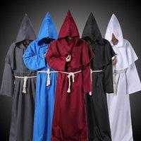 Kostüm Aksesuarları Cadılar Bayramı Cloak Pelerin Parti Cosplay Erkekler Kadınlar Için Kostümleri Ortaçağ Monk Rahip Kapüşonlu Cornes Friar Sihirbazı Giysileri