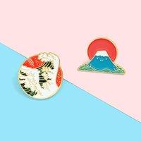 일본식 에나멜 핀 사용자 정의 바다 웨이브 마운트 후지 브로치 배지 가방 셔츠 옷깃 핀 버클 만화 보석 선물 친구 ZDL0512에 대 한.