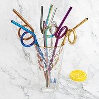 Edelstahl Strohhalme Metall Strohgradation Multi Farbe Verzerrung Rundgetränke Werkzeug Milchkaffee Heißer Verkauf 2 35DX UU