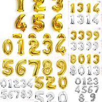 Número 40 Globos pulgadas Foil Gold Gold Silver Digit Air Globos Feliz Cumpleaños Decoración de Boda Letter Balloon Fiesta OJB84