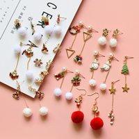 Cadeau de Noël classique Snowball Snowflake Snowman Elk Bell Boucles d'oreilles Asymétriques pour femmes