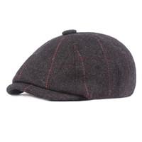 Bérets grille tweed sboy casquette herringbone hommes femmes gatsby rétro chapeau pilote de laine plate casquette goutte blm98