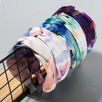 Accessoires pour cheveux Cravate Colorant Bandeaux à la main Spring Wide Hoops Knot Bandes élastiques Bandes élastiques Femmes