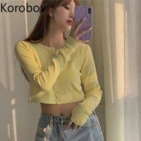 KOBOV Verão Manga Longa Amarelo T Camiseta Coreano Doce Chic Única Mulher Breasted Mulheres Camiseta Tee Tops 201028