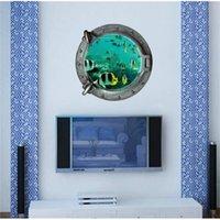 DIY 3D Underwater World Submarino Adesivos de Parede Colorido Peixes Tropical Refrigerador Vinil Art Home Decoração Casa de banho Mural Decalque 201106
