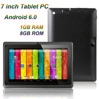7 pouces A33 Quad Core Tablet PC Q8 Allwinner Android 6.0 Capacitif 1.5GHz 1GB RAM 8GB ROM WiFi Bluetooth double caméra lampe de poche Q88 MQ12
