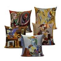 Vintage dekorative Kissenbezüge Pablo Picasso Gemälde Dekor Kissen Sternennacht Abstrakte Kunst Kissenbezug Leinen Pillocase