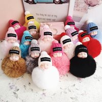 Cute Sleeping Baby Doll Keychain Pompom Ball Key Chains Key ...