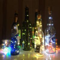 الصمام ضوء زجاجة النبيذ مع كورك الأسلاك النحاسية مصباح الجنية جارلاند مصباح عيد الميلاد عطلة حفل زفاف الديكور 201127