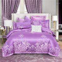 Jacquard de algodón de lujo Jacquard Classics Conjunto de ropa de cama Lustre Duvet Funda Juego Hoja de cama Funda de almohada Twin Queen Super King Tamaño 4pc1
