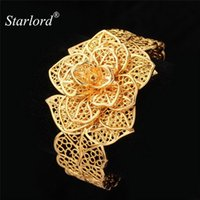 Starlord Brand Flower Cuff Bracelets For Women Trendy Gold Color Big Wedding Bangles Bracelet Pulseira Feminina H483