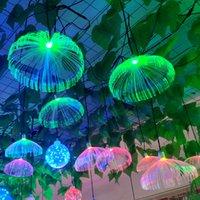 Açık LED Denizanası Fiber Optik Renkli Işık Asılı Işıklar Oturma Odası Restoran Ev Dekor Düğün Parti Su Geçirmez IP66