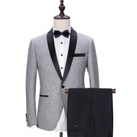 2020 British Style Embroidery Decorate Handsome Stand Colar White Tailcoat Groom Tuxedos Costume Homme(Jacket+pants)NO500