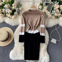 Singreiny женщин вязаный карандаш эластичный с длинным рукавом o шеи тонкие оболочки осень зима корейский корпус свитер платье Q1229