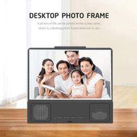12 pouces Amplificateur d'écran 3D Amplificateur de téléphone mobile Films HD protables avec support de haut-parleur Bluetooth Support de téléphone Bleu