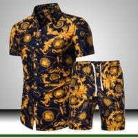 ملابس رجالي الزهور مجموعة قميص 2 قطعة رياضية ذكر عارضة ملابس الشاطئ ملابس نمط Ouftits أزياء الرجال الملابس الصيفية 2020 Q1110