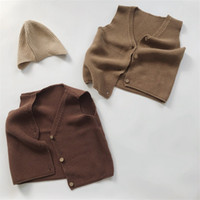 HX Korean New Ins Kinder Jungen Mädchen Weste Tops Sleeveless Tshirts Leere Gestrickte Große Qualität Kinder Winter Mantel Kind Kleidung 481 K2