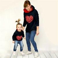 Elternkind Pailletten Hoodies für Kinder Erwachsene Kapuzenpullover Herz Pailletten Pullover Pullover Mom Baby Hoodie Bluse Frauen Sweatshirts G11808