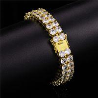 Mens punk pulseira de alta qualidade 10mm banhado a ouro bling 2 linhas CZ tênis pulseira para homens mulheres quente presente