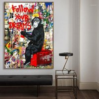 Surelife Abstrait Graffiti Poster Orangutan Super Homme Toile Peintures Dreams Mur Art Print Images Salon Salon Decor1