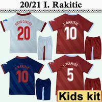 20 21 L. Ocampos I. Rakitic Kids Kit 축구 유니폼 De Jong Diego Carlos Vazquez Home 멀리 3 초 아동 축구 셔츠 짧은 소매