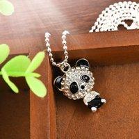 Collar de diamantes de imitación para mujer Cabeza de mudanza linda Panda Colgante de suéter Collar de cadena para mujer Charm Jewelry Metal Trendy1