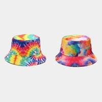 Tie Dye Fisherman chapéu Mulheres Homens Tie-tingido Contraste Colorido Bucket Chapéu Reversível Pacothable Brim Wide Visor 3D Impresso