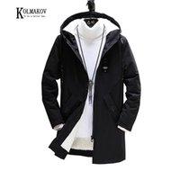 Kolmakov Männer Solide mit Samt-Windjacke mit Kapuze Reißverschluss-Mantel-beiläufigen langen Trenchcoat Male5 Farbe Größe M-3XL verdickte