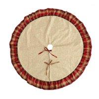 122 cm Noel Ağacı Etek Kırmızı Siyah Ekose Fırfır Kenar Keten Çuval Ile Çörek Ilmek Noel Ağacı Standı Mat Skirt1