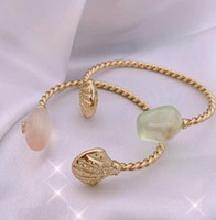 Fashion Real 18K Placcato oro Placcato Green Verde / Pink Crystal Shell Bracciale Braccialetto Braccialetto Bangle Lettera Chian Brand Regalo