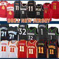 """2021 Новый Баскетбол Джерси Миннесота """"Тимбервол"""" Атланта """"Ястреб Mens 21 Garnett 1 Edwards 32 города 11 Молодые 4 Webb Beige"""