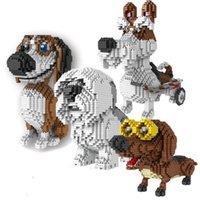 Cartoon Dog Mini Block Beagle Hound Dog Schnauzer Bassotto Sheep fai da te da costruzione giocattolo del mattone per i bambini Gift Box C1115