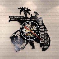 Orologio da parete USA Florida State Orologio da parete Paesaggio urbano Home Decor Vinyl Record The Sunshine State In God We Trust Stati Uniti d'America Travel Watch Clock