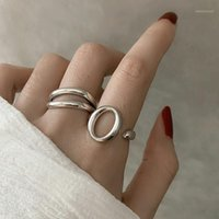 Minimalist Oval O- Shaped Letter Hollow 925 Sterling Silver A...