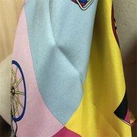 Nouvelle Arrivée Mode Marque Classic Coloré 100% Silk Écharpe 90 * 90 cm Square Twill Wrap pour femmes Livraison Gratuite Y201007