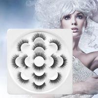 7 Pairs 3D Faux Mink Eyelashes Lotus tray Cruelty Free Thick Long Lash Handmade False Eyelash Trendy High Quality lashes