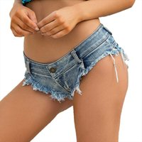 Mini Micro Short Femme Sexy Thong Denim Shorts Female Cotton 2020 Frühlings-Sommer-Jeans Shorts Frauen Clubwear Night Party Europäischen