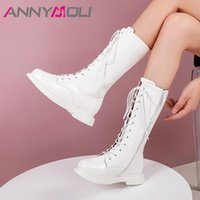 Annymoli Med Heel Motorcycle Boots Donna Mid Calf Boots Zip Chunky Heel Shoes Shoes Lace Up Round Toe Ladies Autunno Inverno Bianco