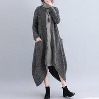 Nuovo Autunno Inverno Outwear Donne lungo asimmetrico Trench solido O-Collo chiusura lampo irregolare cappotto femminile Fashion Casual Outdoor soprabito