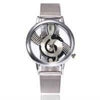 2017 새로운 브랜드 패션 중공 음악 노트 표기법 시계 스테인레스 스틸 쿼츠 손목 시계 남성 여성 실버 메쉬 시계