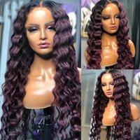 Long Dark Roxo 13x4 Rendas Front Human Human Wigs Com Bebê Cabelo Deep Wave Headband Silk Top 360 Brasileiro Laço completo para as mulheres