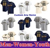 2020 Milwaukee Erkek Kadın Çocuklar 22 Christian Yelich Josh Hader Woodruff Lorenzo Cain Ryan Braun Brent Suter Arcia Brewers Beyzbol Formaları